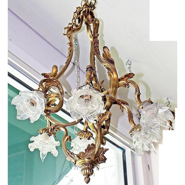 Gold French Bronze-Dore' Art-Nouveau Fixture For Sale - Image 8 of 9