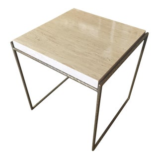 Hammered Bronze & Travertine Top Side Table For Sale