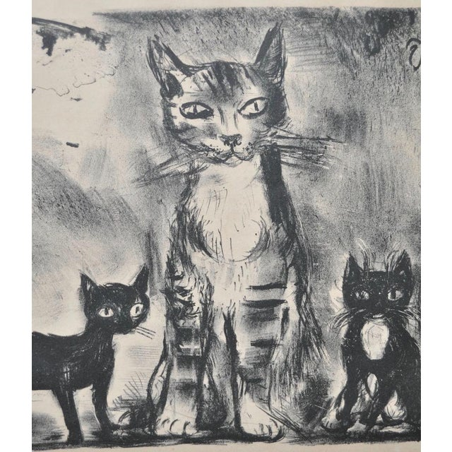 """1930s """"Cat Family"""" Pencil Signed Lithograph For Sale - Image 5 of 5"""