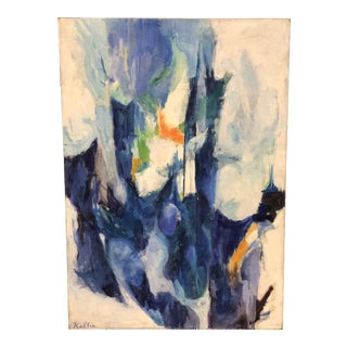 Mid-Century Abstract Original Oil on Canvas For Sale