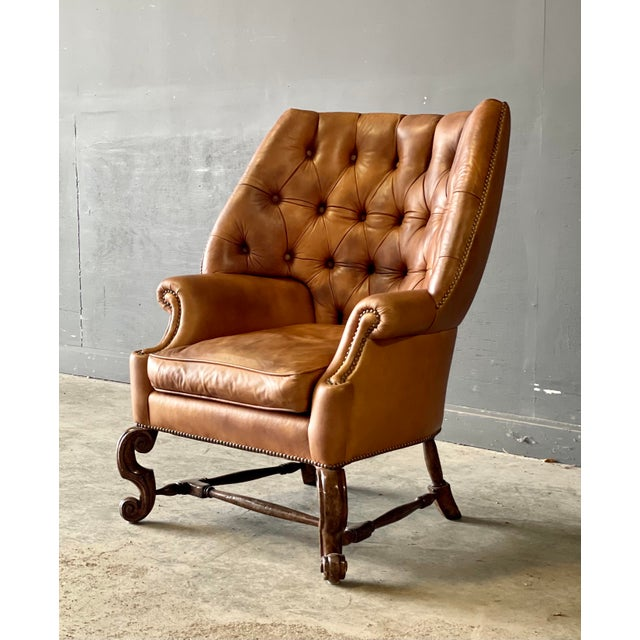 Leather Wing Back Chair For Sale - Image 9 of 10