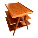 Image of 1960s Mid-Century Modern American of Martinsville Walnut X Inlay Design 3 Tier Side Table For Sale