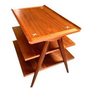 1960s Mid-Century Modern American of Martinsville Walnut X Inlay Design 3 Tier Side Table For Sale