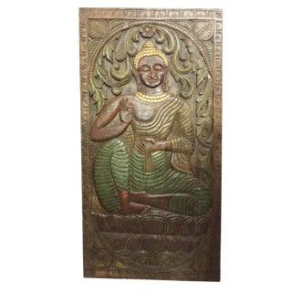 Vintage Buddha Wall Sculpture Abhaya Budha Colorful Zen Wall Decor Panel For Sale