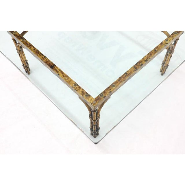 Metal Faux Bamboo Gold Gilt Frame Square Glass Top Coffee Table For Sale - Image 7 of 12