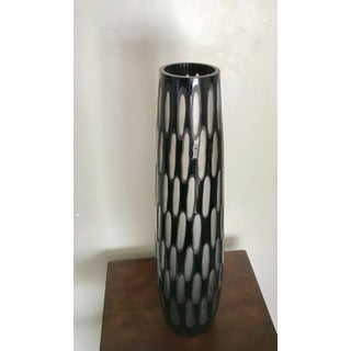 """18"""" Tall Modern Cut-Out Design Black and Clear Glass Vase Preview"""