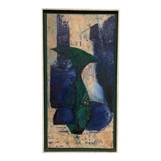 Mid-Century Modern Geometric Bottles Original Oil on Canvas Framed Abstract Signed S. Kahn For Sale