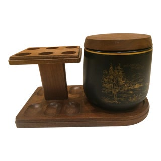 Vintage Black Ceramic Humidor With Gold Embossed Fishing Scene and Attached Walnut Pipe Stand For Sale
