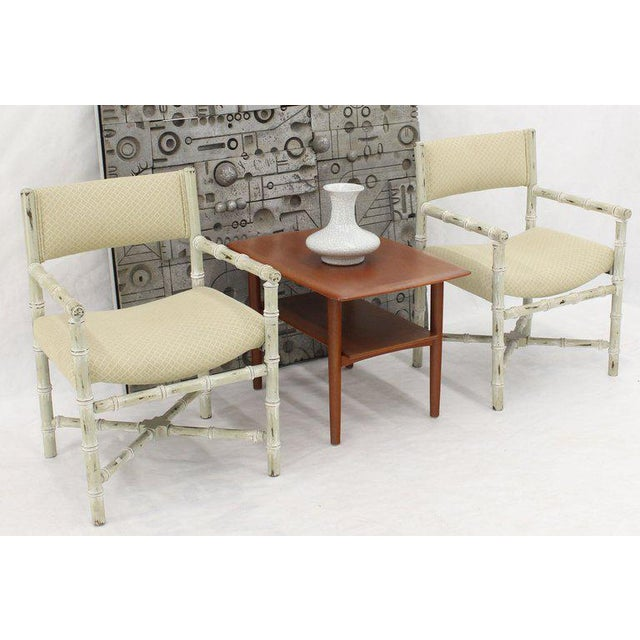 Pair of Distressed Finish Faux Bamboo Capitan Chairs With X Bases For Sale - Image 6 of 13