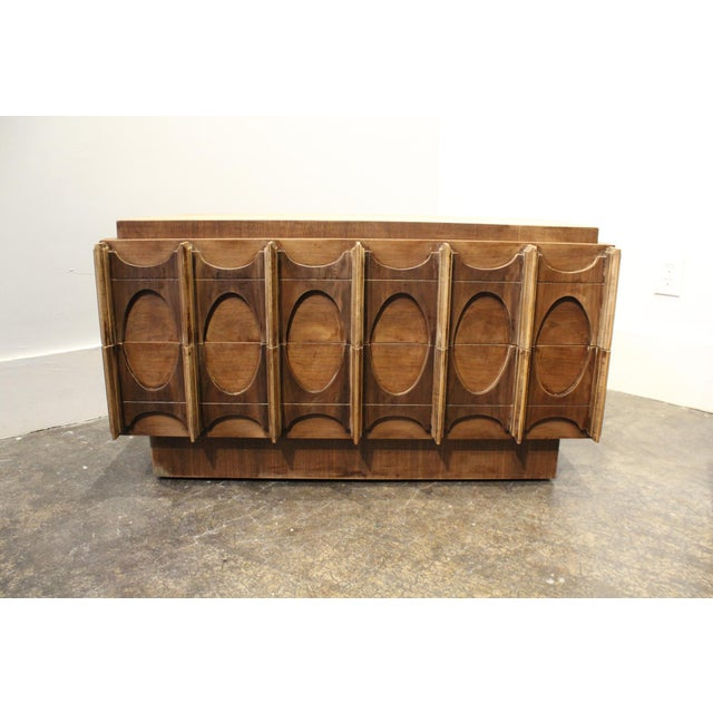 1970s Brutalist Wardrobe Chest on Chest in Natural Walnut, Brasilia Style For Sale - Image 10 of 12
