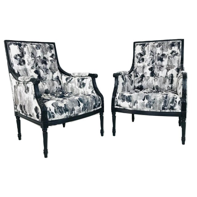 Wood Pair Black & White Watercolor Armchairs (4 Pairs Available) For Sale - Image 7 of 7