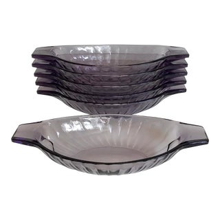 Purple Faceted Glass Dishes - Set of 6 For Sale