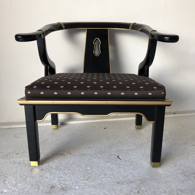 "Asian Style Black Lacquer ""Hickory"" Arm Chair For Sale - Image 12 of 12"