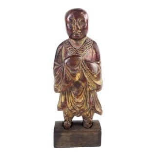 19th Century Antique Chinese Carved Wooden Statue of a Standing Buddhist Figure For Sale