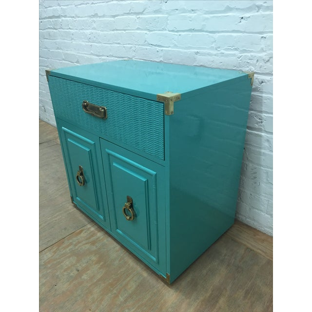 Dixie Lacquered Turquoise Faux Bamboo Credenza - Image 4 of 11