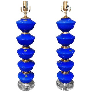 Vintage Cobalt Blue Murano Glass Lamps by Balboa - A Pair For Sale