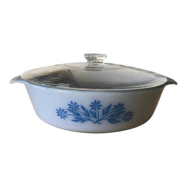 Anchor Hocking Blue Glaze Lidded Casserole For Sale