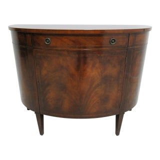1940s Antique Mahogany Demi-Lune Banded Console / Sideboard For Sale