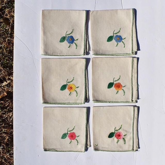 Textile Cream Hand Embroidered Floral Cloth Dinner Napkins in Blue Green Pink Orange - Set of 6 For Sale - Image 7 of 7