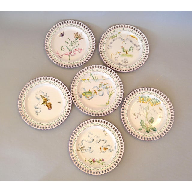 Art Nouveau French Faience Enamel Decorated Emile Galle Nancy Plates, Signed - Set of 6 For Sale - Image 13 of 13