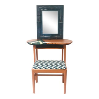Orange Geometric Vanity, Mirror & Stool - Set of 3