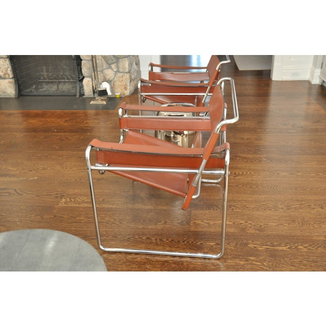Reproduction Mid-Century Wassily Leather & Chrome Chairs - Pair - Image 6 of 9