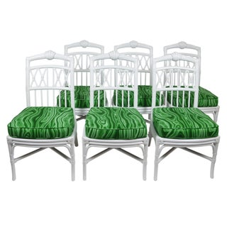 Ficks Reed White Shell Dining Chairs - Set of 6 For Sale