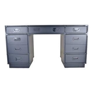 Campaign Desk Custom Lacquered in Polo Blue For Sale