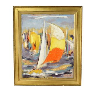 "French Mid-Century ""Regates"" Abstract Impressionist Oil Painting by Michel Labonne For Sale"