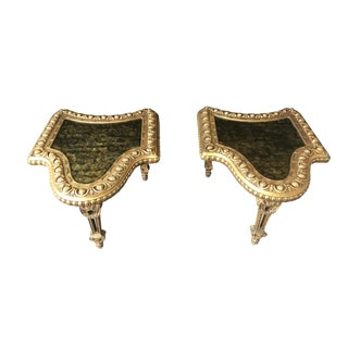 Ornate Gilt Wood Inlaid End Tables - a Pair