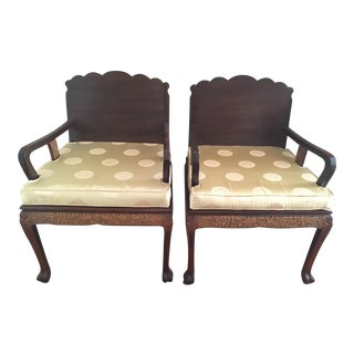Antique High Relief Carved Arm Chairs - A Pair