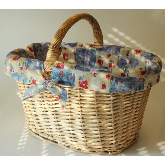 Vintage Handmade Braided Wicker Shopping Basket For Sale - Image 4 of 8