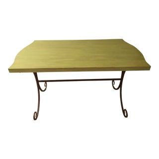 Custom French Style Painted Garden Table Desk With Wrought Iron Legs