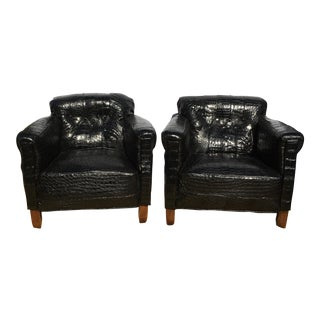 1920's French Art Deco Black American Alligator Upholstered Club Chairs - a Pair