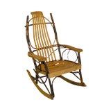 Image of Hickory & Bent Twig Wood Vintage Rocker Rocking Chair For Sale