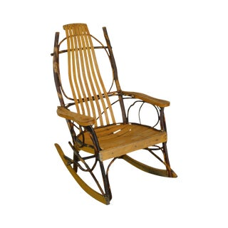 Hickory & Bent Twig Wood Vintage Rocker Rocking Chair For Sale
