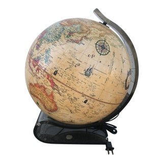 1980s Vintage Illuminated Scan-Globe With Smoked Lucite Curved Stand For Sale