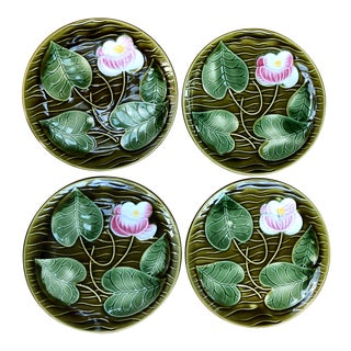 Sarreguemines French Majolica Flower Plates - Set of 4 For Sale