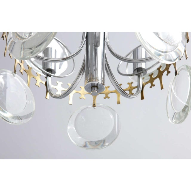 Brass Vistosi Clear Crystal Disc Chandelier For Sale - Image 7 of 10