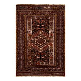 """Apadana - Vintage Fine Brown Turkish Afshar Rug, 4'3"""" X 6' For Sale"""