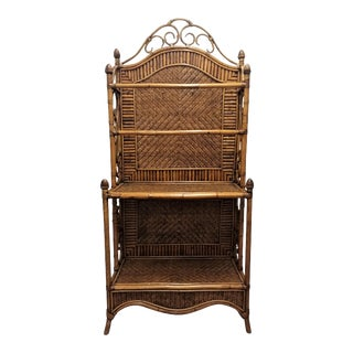 1980's Robb & Stucky Wicker Hutch For Sale