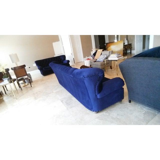 Restoration Hardware Churchill Blue Velvet Sofa - Image 6 of 7