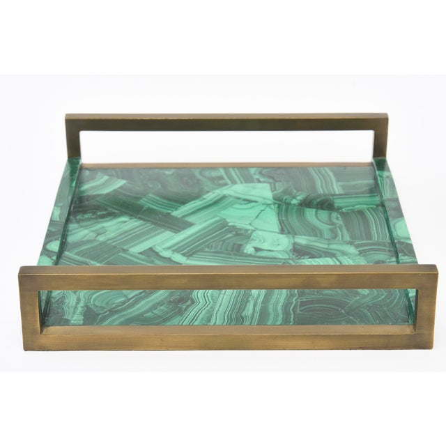 Boho Chic R&Y Augousti Faux Malachite Compostion Wood and Brass Tray For Sale - Image 3 of 10