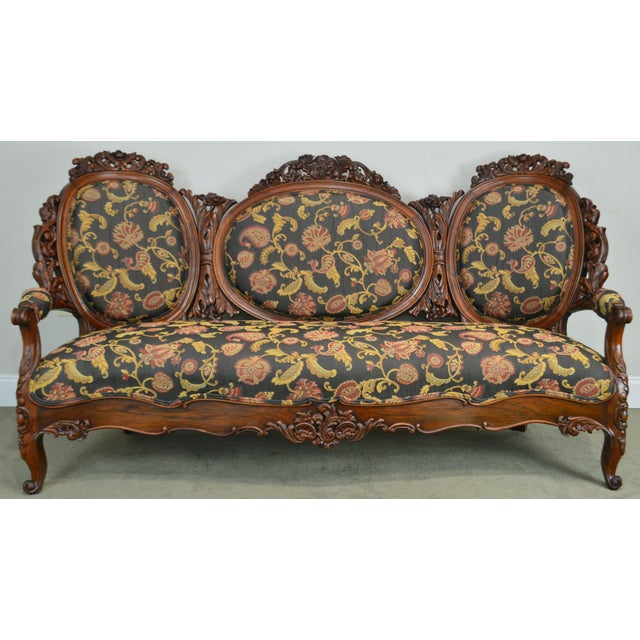 Rococo Revival Fine Carved Rosewood Sofa For Sale - Image 10 of 13