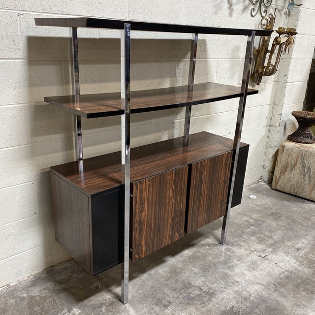 Mid-Century Modern Mid Century Two Tier Chrome Shelf Cabinet For Sale - Image 3 of 12
