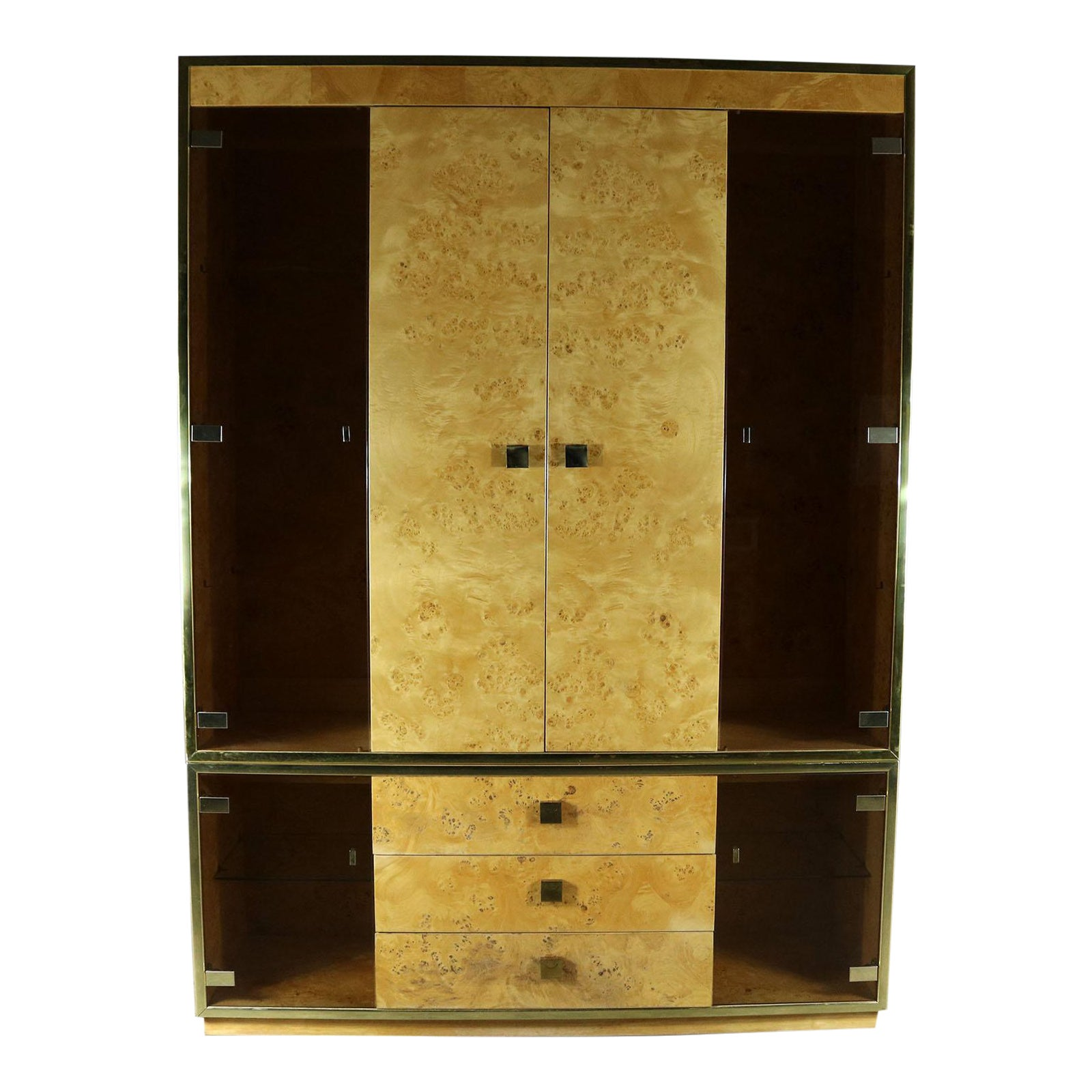 Founders Furniture Burled Wood and Smoke Glass Wall Unit Display ...