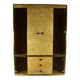 Founders Furniture Burled Wood and Smoke Glass Wall Unit Display Cabinet Lighted For Sale