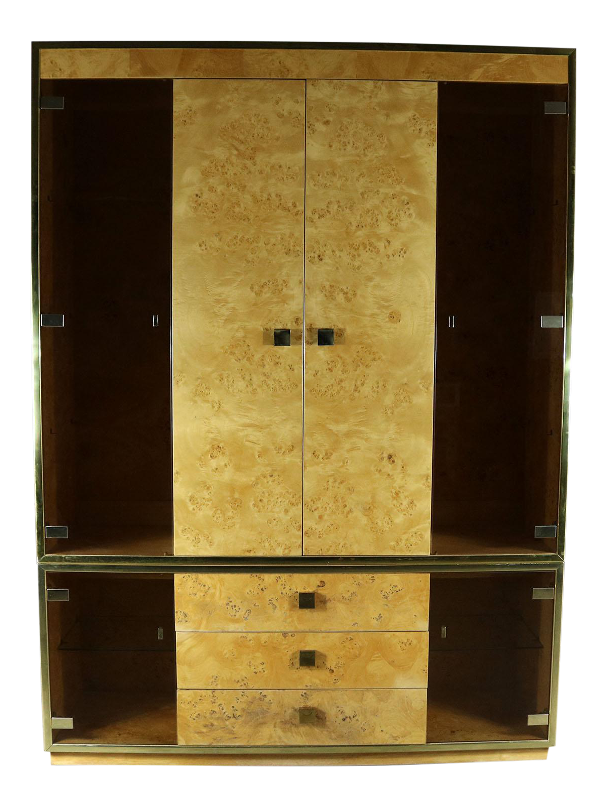 Merveilleux Founders Furniture Burled Wood And Smoke Glass Wall Unit Display Cabinet  Lighted