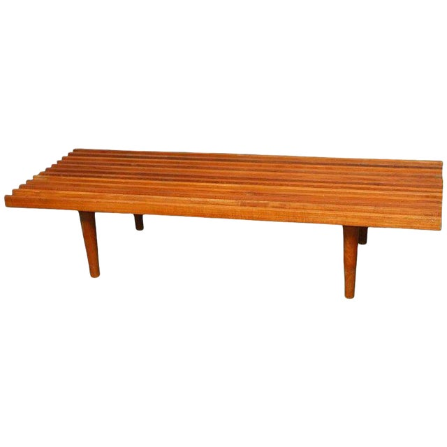 Mid-Century Modern Low Slat Wood Bench Coffee Table For Sale