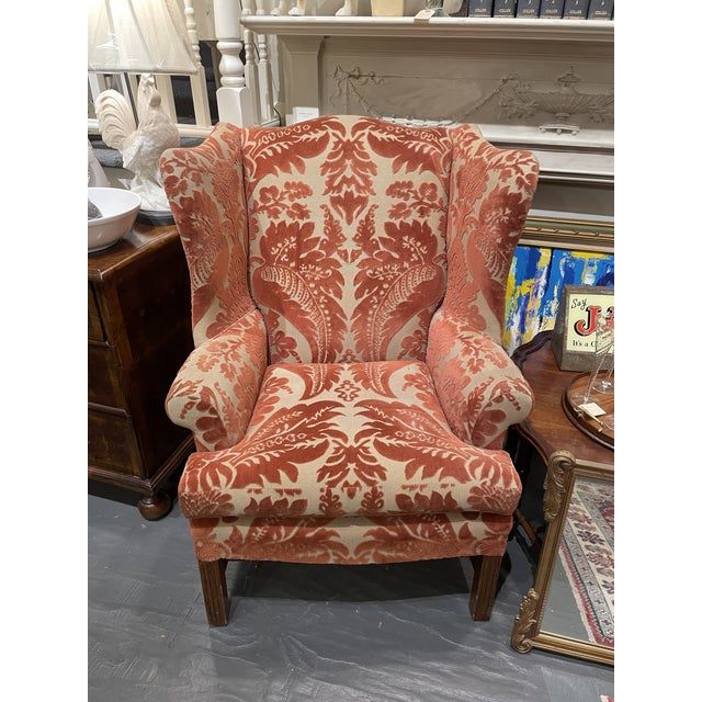 Wood 1920s Vintage Red Wingback Chair For Sale - Image 7 of 7